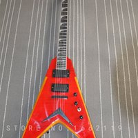 guitar body shapes NZ - Factory custom Flying V shape body Electric guitar 6 strings with flamed maple ebony fingerboard musical instrument shop