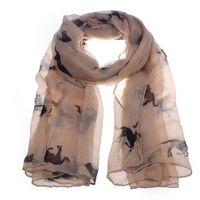 Wholesale winter scarf horse resale online - Bubble Chiffon Hijab Scarf Fashion Women Long Scarves Horse Print Shawl Wrap Stole Voile Ponchos Spring Winter Scarves