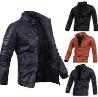 Wholesale black leather jackets for men - Motor Biker Stand Collar Leather Jacket Winter Spring Fashion Jacket Brand Out Coat For Man