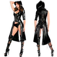 Wholesale sex pvc dress - Sexy PU Leather Lingerie Sexy Jumpsuit Dress Black Faux Latex Costume Erotic Catsuit pvc Erotic Suit Halloween Apparel Sex Wear
