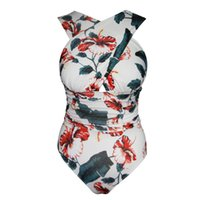 Wholesale siamese swimwear for sale - Popular summer hot Europe and the United States deep V cross cover belly Siamese aunt swimwear nylon quality