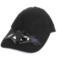 ventiladores de chapéu solar venda por atacado-Bom deal-black Solar Powered Fan Air Arrefecido Chapéu De Beisebol Camping Viajar