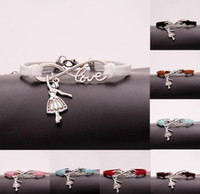 Wholesale ballerina jewelry resale online - 10pcs Infinity Love Bracelet Dancing ballerina girl Charm Heart Pendant Women Men Simple Bracelets Bangles Jewelry Gift A118