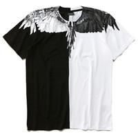 Wholesale Splice Round Neck Shirt - Popular Brand Wings Printing Men's T-Shirts Cotton Large Size Loose Round Reck Tees Black White Splice Short Sleeved T-shirt