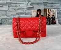 mejor bolso vintage al por mayor-Bolsos de lujo bolsos de las mujeres de la vendimia bolsos de hombro rojo de cuero clásico nuevo bolso de cadena cruzada cuerpo y los bolsos de hombro el mejor regalo