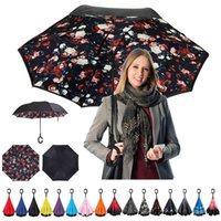 Wholesale nylon fabric roll - Windproof Reverse Folding Double Layer Inverted Chuva Umbrella Self Stand Inside Out Rain Protection C-Hook Hands For Car