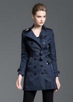 kaliteli trençkot katmanı kadınlar toptan satış-Sıcak satışlar! Kadın klasik moda ingiliz orta uzun trençkot / kadınlar için yüksek kalite marka tasarımcısı İngiltere siper boyutu S-XXL 4 renkler