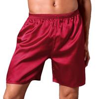 boksör pijama örtüsü toptan satış-2018 Erkekler Ipek Saten Pijama Gevşek Şort Pijama Ev Tekstili erkek Düz Renk Yumuşak Boxer İç Erkek Seksi Kıyafeti Külot