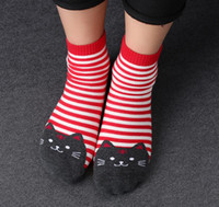Wholesale yellow ankle socks - 5 Pair 3D Animals Style Striped Fashion Cartoon Socks Women Cat Footprints Cute Cotton Socks Foot Meias Soks