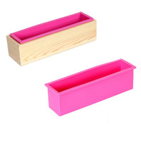 Wholesale soap covers - Cold Soap Mold Hand Soap Silicone Toast Mold With Wooden Box Silicone Soap Mold Belt Cover DIY Tools Toast Loaf Baking Cake Molds kg