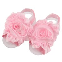 Wholesale Chiffon Sandals - Baby Foot Flower Wristband Barefoot Sandals Folds Chiffon Flower Socks Cover Barefoot Pink