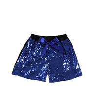 Wholesale america baby clothes resale online - Boutique baby girls sequin shorts pants bow princess shorts Europe and America dance pants kids clothes
