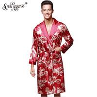 túnicas de seda sintética al por mayor-Dragón largo y sedoso Hombres Bata Ropa de lujo Rey chino Albornoz de imitación de seda Largo Hombre Robot de sueño L-3XL Marca Robes YT032