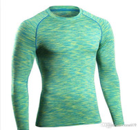 estiramiento seco rápido t shirts al por mayor-PRO Fitness Ropa Medias Manga larga Correr Correr Camiseta de secado rápido Breath Túnica Collar