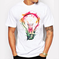 Wholesale cool color paintings - New Color Painted Bulb Design Men 'S T Shirt Cool Fashion Tops Short Sleeve Tees