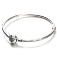 Wholesale pandora silver plated bracelet love online - 100 Sterling Silver Womens Bracelets White CZ Micro Paved Heart Bracelet with box for Pandora beads European Charms