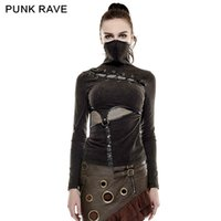 Wholesale Women Gothic T Shirts - PUNK RAVE Steampunk High Collar Mask Woman T-shirts Stretch Knit Stitching Elastic Mesh Fabric Black Tops Punk Rock Tees Gothic