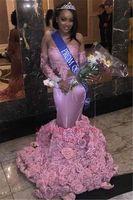 Wholesale silk flowers lilacs - Pink African Black Girls Mermaid Prom Dresses Long 2018 Handmade Flowers Long Sleeves Lace Applique Floor Length Dresses Evening Wear