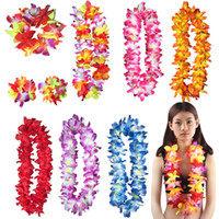 Wholesale wholesale artificial wreath supplies - New Fashion Colourful Hawaiian wreath Artificial Flowers Necklace performing wreath festival Beach Party Decoration supplies T3I0353
