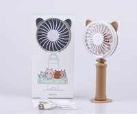 Wholesale night light retail for sale - Group buy 4 colors USB Handheld Twist Cat Fan Electric Power Desktop Colorful Night Light Fan Mini Air Cooler with retail box