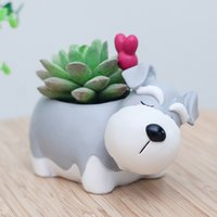 ingrosso vasi da giardino della resina-Roogo decorativo Schnauzer Dog Pot forma animale Resina Flowerpot Garden Decor Pentole Piante succulente Holder Idee regalo per lui