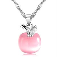 apfelförmige halskette großhandel-Pink Apple Förmigen Anhänger CZ Diamant Katzenauge Stein Frauen Mode Anhänger Halskette Weißes Gold Überzogen