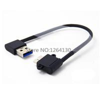 usb cable b ângulo recto venda por atacado-Direita / Esquerda em ângulo de 90 graus USB 3.0 Um Macho para Micro B Macho 90 graus cabo para Galaxy Note3 N9000 N900 S5 i9600 Thinkpad 8