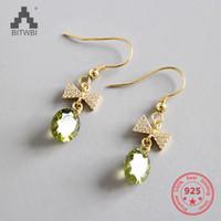 brincos brincos verde venda por atacado-Bow Verde Brincos de Zircão para As Mulheres 925 Sterling Silver Earnings Fashion Jewelry 2018 Bijuteria