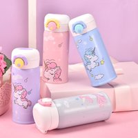Wholesale black unicorn bottles resale online - New Stainless Steel Children Vacuum Cup Cartoon Animal Unicorn Straight Water Bottle Cute Color Bottles For Kids yj Ww