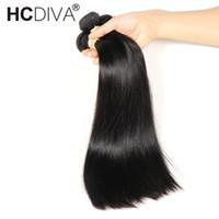 cheveux humains remy de 32 pouces achat en gros de-Brésiliens Cheveux Raides 4 Bundles 100% Faisceaux de Cheveux Humains 8-32 pouces Brésiliens Cheveux Weave Bundles Non-Remy Extensions HCDIVA