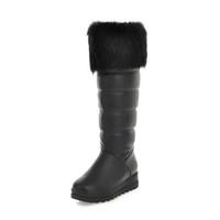 09bd2b53 Botas de mujer Otoño Invierno Cálido Felpa Sexy Nueva moda Pu Hasta la  rodilla Martin Snow Boot Negro Blanco Zapato de tacón alto