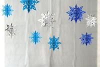 kartonverzierungen großhandel-Heiße Festliche Partei 6 Teile / satz Karton 3D Hohle Schneeflocke Hängende Ornamente Neujahrs Weihnachtsschmuck für Home Party Dekoration