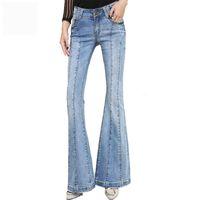 Estartek Stretching Denim Flare Jeans Donna Long Stretching Bell-Bottoms  Jeans per ragazze Pantaloni Large Size 59008bb01f2