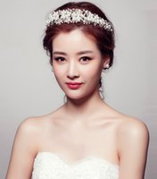 Wedding Bridal Prom Princess Rhinestone Pearl Crystal HairBand Tiara Wedding Crown Veil Headband Bridal Crystal Rhinestone Hair Piece Women