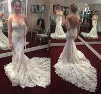 Wholesale crystal unique wedding dress resale online - 2018 Unique Design Mermaid Wedding Dresses Spaghetti Sexy Backless Trumpet Crystal Court Train Full Lace Bridal Gowns Plus Size Customized
