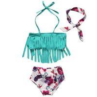 Wholesale toddler girl wearing swimsuit - 3Pcs sets toddler baby girls bikini sets with headband tassel swimwear swimsuit bathing suit beach wear kids summer clothes