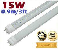 natürliches weißes fluoreszierendes licht großhandel-15W 3ft 0.9m T8 führte Leuchtröhren bereiftes / Klarsichtdeckel 120 Winkel-warmes / natürliches / kühles Weiß 90cm führte Leuchtstofflampen 85-265V
