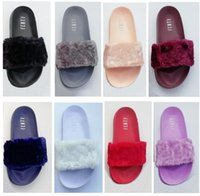 Wholesale Printed Fur - Leadcat Fenty Rihanna Faux Fur Slippers Women Indoor Sandals Girls Fashion Scuffs Pink Black White Grey Slides High Quality With Shoes Box