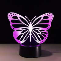 Wholesale led butterfly tree - 3D Butterfly Night Lamp 3D RGB Colorful Optical Lamp AA Battery DC 5V Wholesale touch control Acrylic creative gift