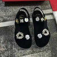 ingrosso ciabatte in cotone nero con strass-2018 scarpe da donna moda tela fiore tallone cross-band sandalo estivo nero infradito per le donne 39 s perline strass cunei