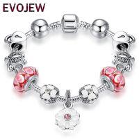 freundschaft armbänder blume großhandel-Hohe Qualität Armband Vintage Silber Blume Charms Armbänder mit rosa Glasperlen Mädchen Armbänder Freundschaft Schmuck machen