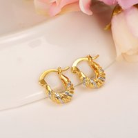 Wholesale gold earrings for babies - 2 pairs 2017 Baby Girls Small Round Circles Huggies Earrings Two Color Jewellery For Kids Children jewelry african best gift