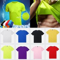 farbe schnell großhandel-Abkühlung T-Shirt Rundhals Sport Atmungsaktive Volltonfarbe Männer Frauen Kurzarm Schnell Trocknend T-Shirt Hause Kleidung benutzerdefinierte Logo HH7-1462