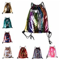 Wholesale Medium Drawstring Bags - Mermaid Sequin Backpack Sequins Drawstring Bags Outdoor Sports Backpack Glitter Sports Shoulder Bags Travel Bag 8 Styles LJJO4840