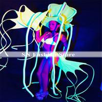 polvo de festa venda por atacado-EC64 Fluorescente verde polvo oceano trajes de dança de salão mulheres stage show usa o desempenho do vestido da passarela vestir dj cantor festa de formatura dj