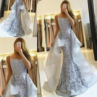 Wholesale Glamorous Lace Mermaid Evening Dresses Long Formal Dress With Cascading Ruffles Special Occasion Dresses Sexy Prom Dresses Spaghetti