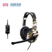 sanal kulaklık toptan satış-EDIFIER G10 Oyun Kulaklık 7.1 Sanal Surround Ses Aşırı Kulak USB Kulaklık Bilgisayar Oyun Için Mic Ile In-Line Kontrolü Ile DHL gemi