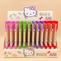 Wholesale hello kitty stationery resale online - 10 Kawaii Lovely hello kitty Candy Color Cat cartoon anime ballpoint pen students stationery gift children mm