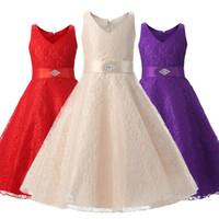 Wholesale graduation dresses china - 2018 new Europe and China girls dress children's high-end princess dress lace sleeveless children's clothing wedding dress