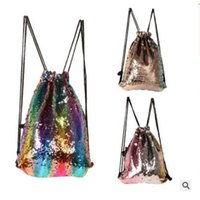 Wholesale Shoulder Strap Accessories - Designer Backpack Drawstring Bags Strap Reversible Sequins Women Men Double Shoulder Bag Designed Bag Travel Accessory Bag Free Shipping